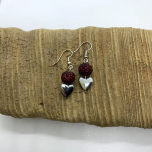 Bedazzled Red and Silver Heart Dangling Earrings