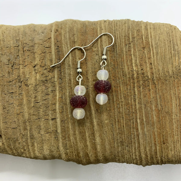 Cloudy Red and White Dangling Earrings
