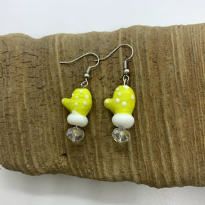 Yellow Mitten Dangling Earrings