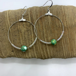 Green and Clear Hoop Earrings