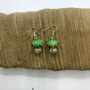 Green Glass Bead Dangling Earrings