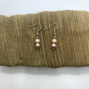 Pink and Purple Pearl Dangling Earrings