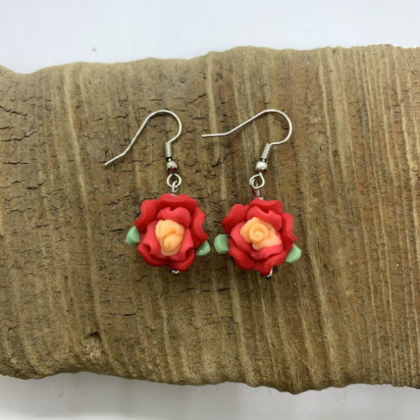 Red Flower Dangling Earrings