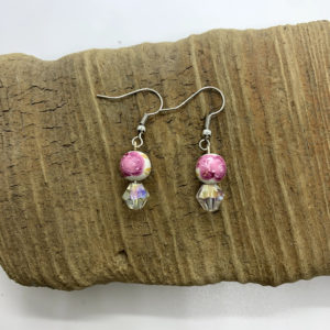 Pink Flowered Dangling Earrings