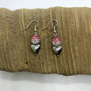 Bedazzled Heart Dangling Earrings