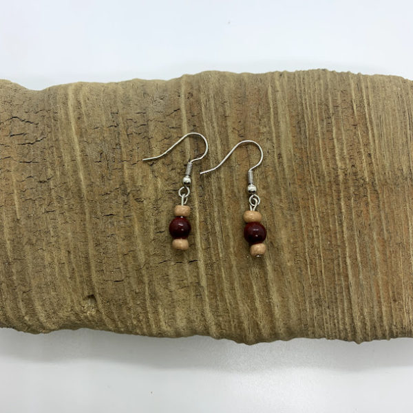 Wood Bead Dangling Earrings