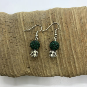 Green and Silver Bedazzled Dangling Earrings