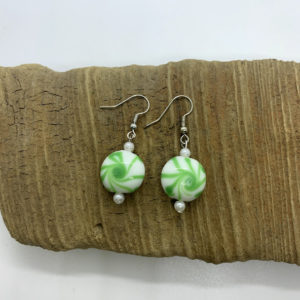Peppermint Swirl Dangling Earrings