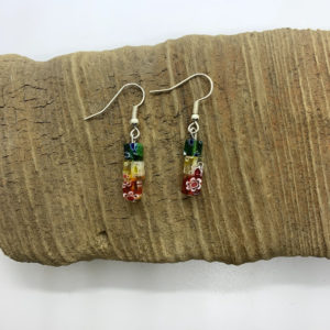 Rainbow Cube Dangling Earrings