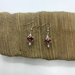 Silver and Red Dangling Earrings