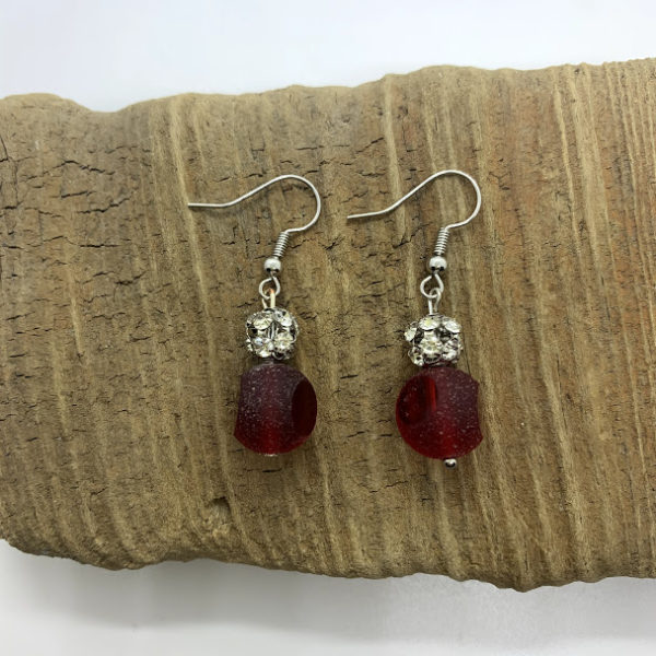 Cloudy Red and Bedazzled Dangling Earrings