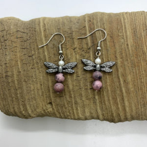 Purple Dragonfly Dangling Earrings