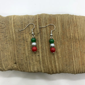 Red, Silver, and Green Dangling Earrings