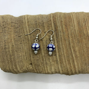 Blue and White Flower Beaded Dangling Earrings
