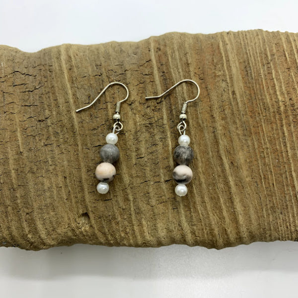 Pink and Grey Dangling Earrings