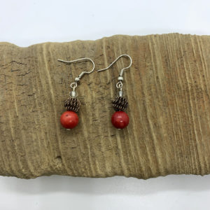 Red Bead and Pinecone Dangling Earrings