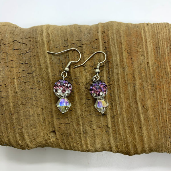 Pink and Purple Bedazzled Dangling Earrings
