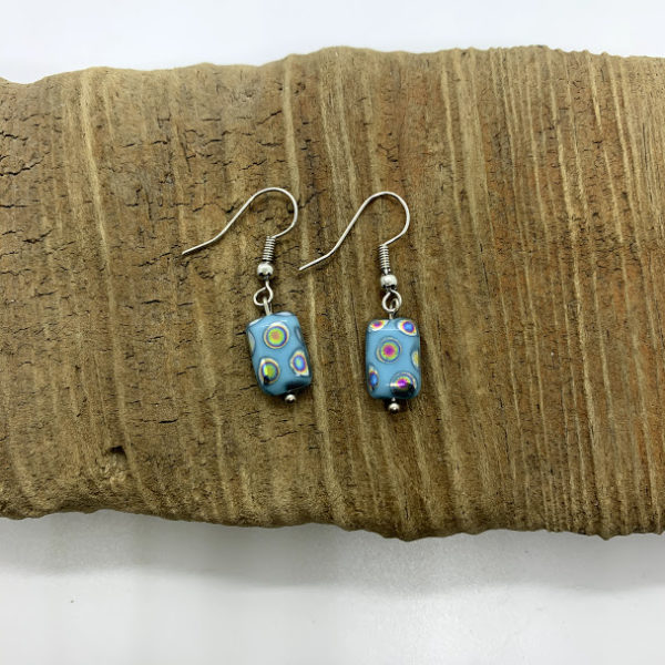 Blue Polka-Dotted Dangling Earrings