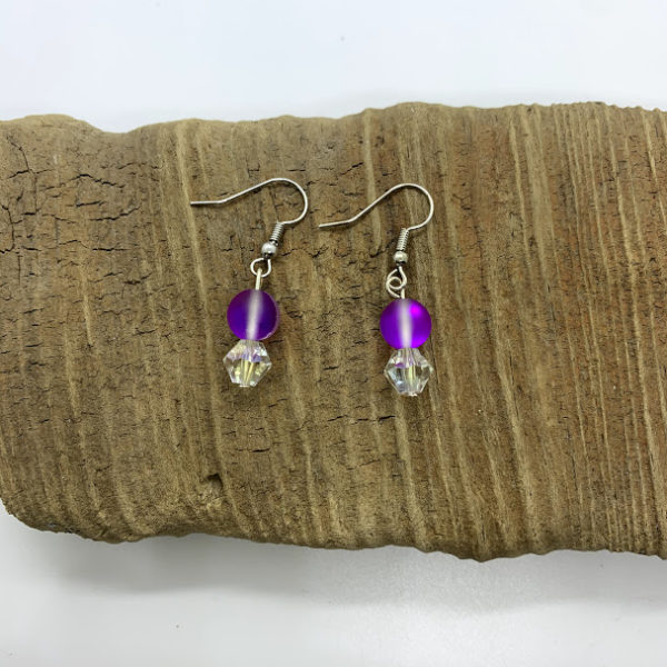 Purple and White Iridescent Dangling Earrings