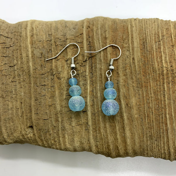 Light Blue Cloudy Dangling Earrings
