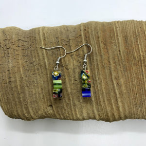 Blue and Green Abstract Dangling Earrings