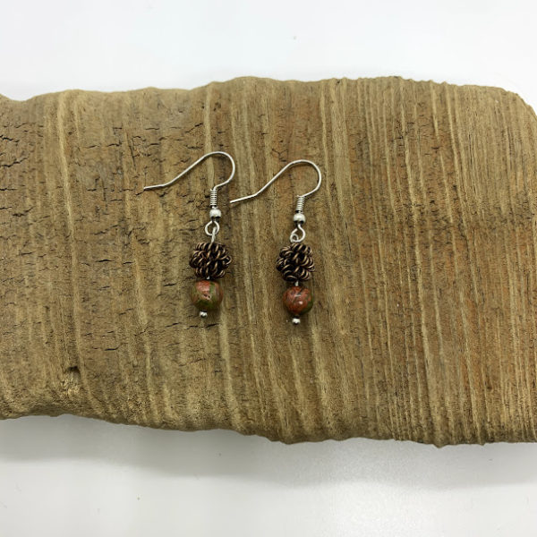 Pinecone and Bronze Bead Dangling Earrings