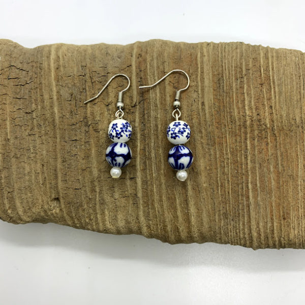 Blue and White Flowered Dangling Earrings