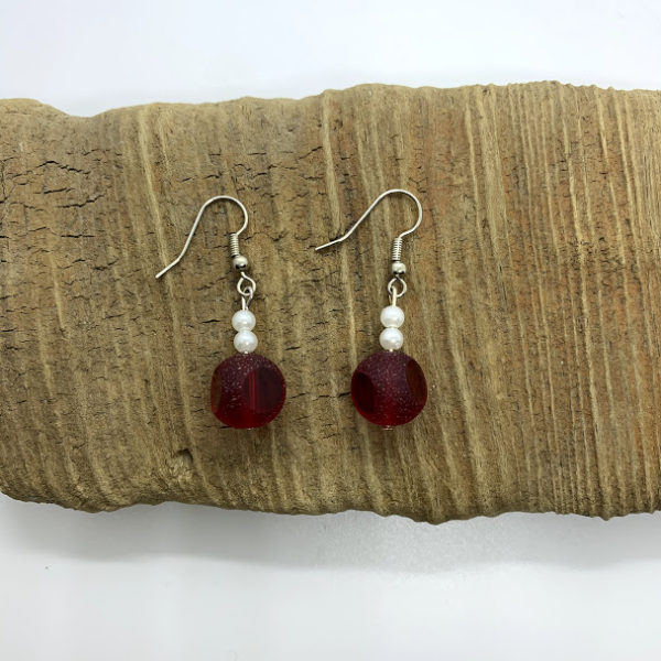 Cloudy Red Dangling Earrings