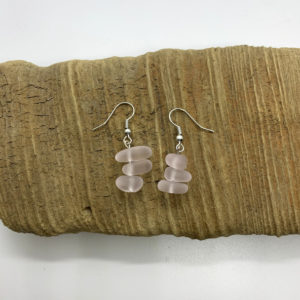 Pink Cloudy Stone Dangling Earrings