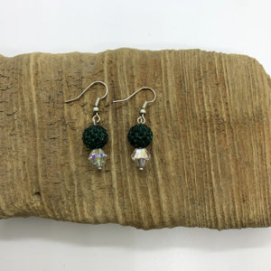 Green Bedazzled Dangling Earrings