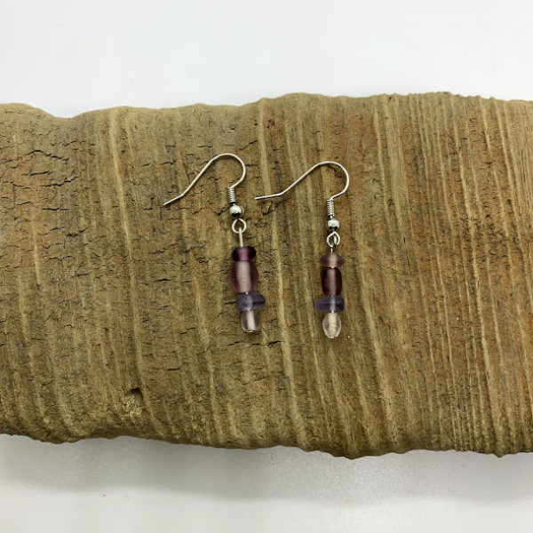 Small Purple Beaded Dangling Earrings