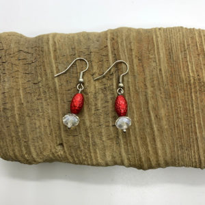 Red and White Dangling Earrings