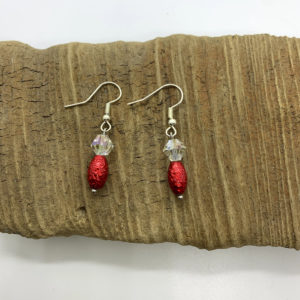 White and Red Dangling Earrings