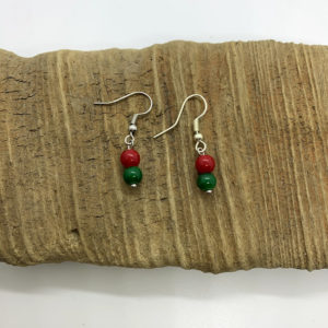 Red and Green Dangling Earrings