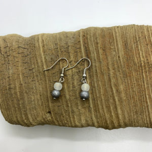 Cloudy White and Grey Dangling Earrings