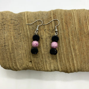 Pink and Black Dangling Earrings