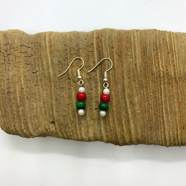 Red, White, and Green Dangling Earrings