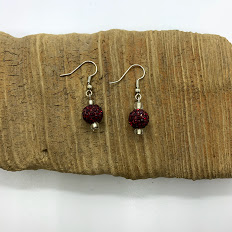 Red Bedazzled Dangling Earrings