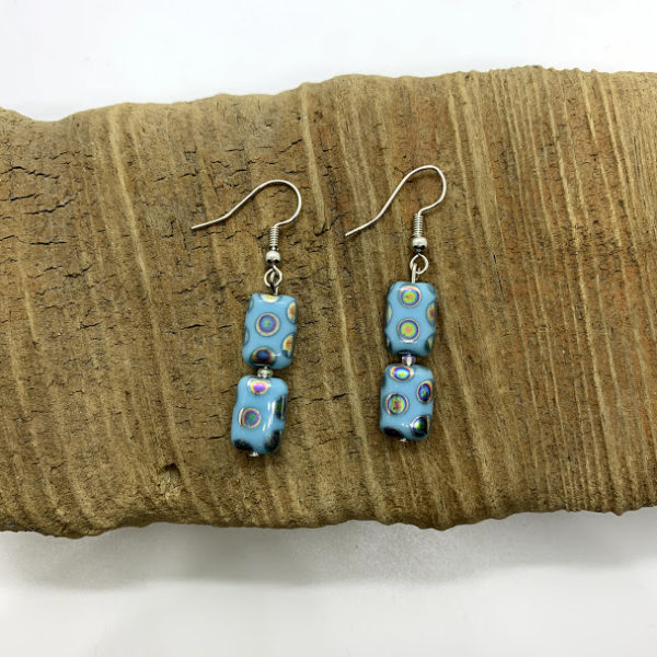 Square Polka-Dotted Dangling Earrings