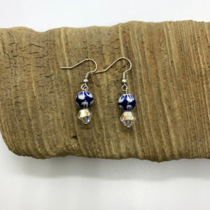 White Flowered and Blue Beaded Dangling Earrings