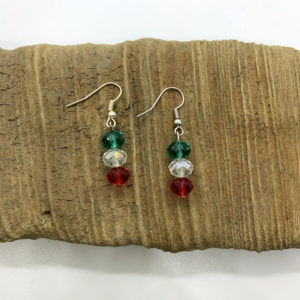 Red, Green, and Clear Dangling Earrings