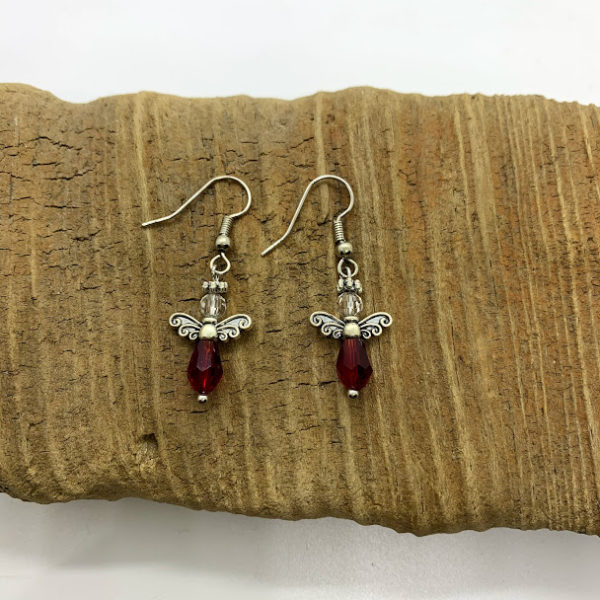 Red Angel Dangling Earrings