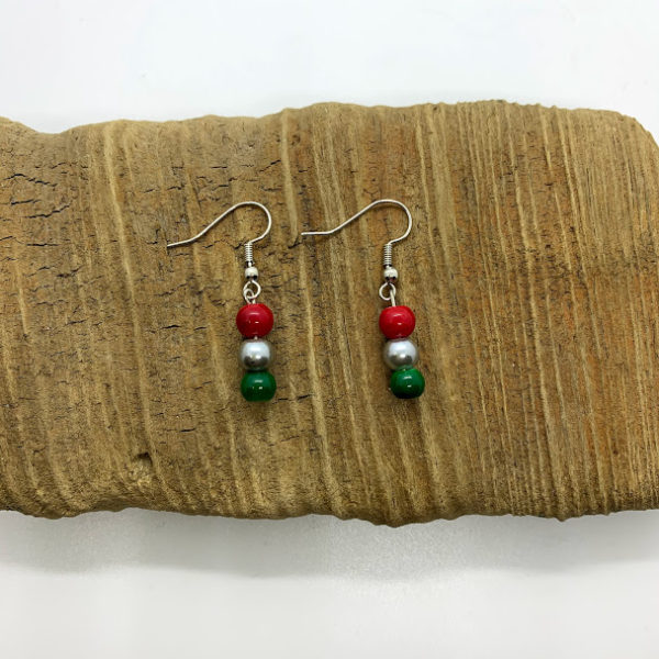 Red, Green, and Silver Dangling Earrings