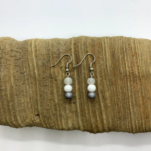 Grey, White, and Clear Cloudy Dangling Earrings