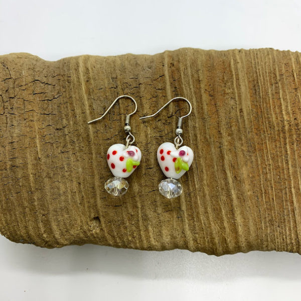 Christmas Heart Dangling Earrings