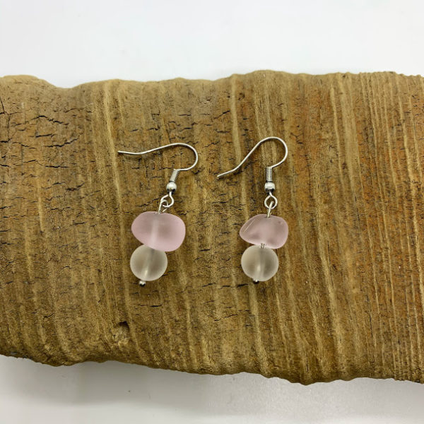 Pink and White Glass Bead Dangling Earrings