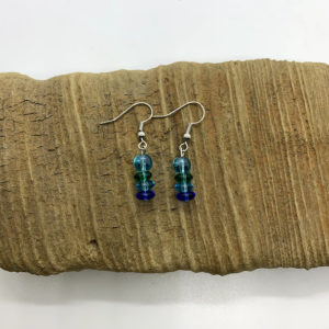 Green and Blue Disc Dangling Earrings