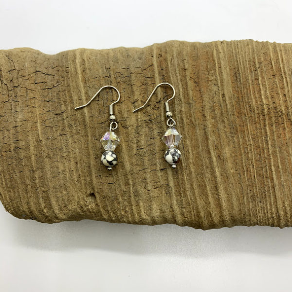 Grey and Clear Dangling Earrings