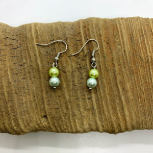 Green and Blue Faux Pearl Dangling Earrings