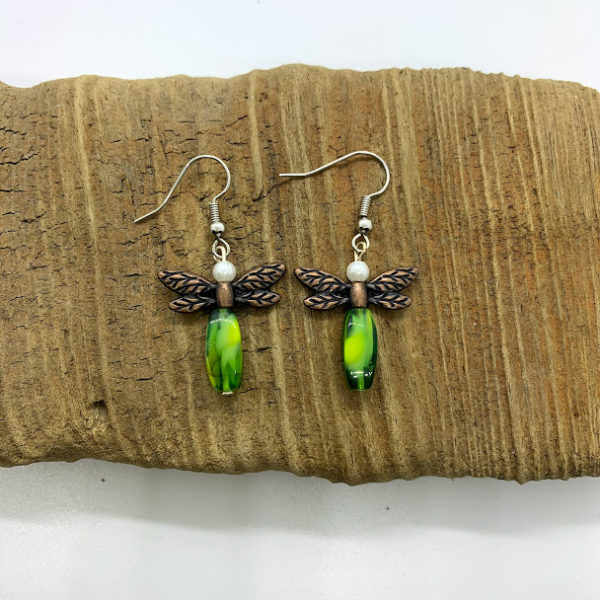 Green Dragonfly Dangling Earrings